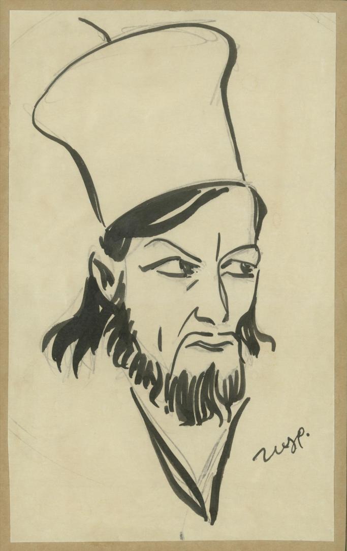 """Ο Αλέξης Μινωτής στον """"Παπαφλέσσα"""" του Σπύρου Μελά. Εθνικό Θέατρο, 1940, σκηνοθεσία Δημήτρης Ροντήρης. Σχέδιο του Νίκου Ζωγράφου (μολύβι και μελάνι, 18,5x11,5 εκ.). Αρχείο Κατίνας Παξινού και Αλέξη Μινωτή."""
